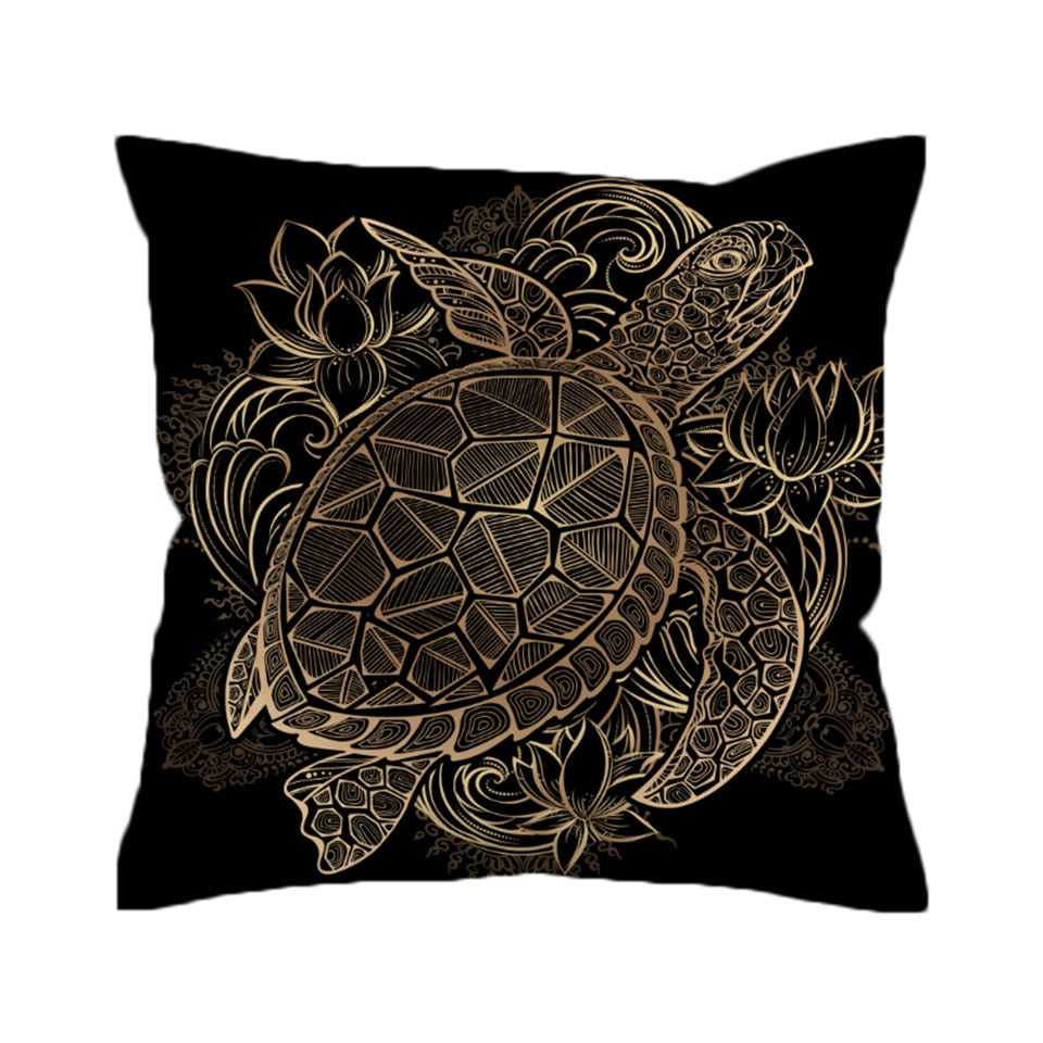 Black Patterned Gold Sea Turtle Microfiber Pillow Cover
