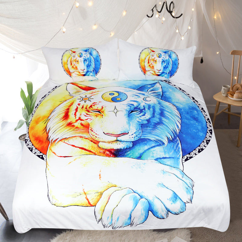 White 3-Piece Inner Balance by JoJoes Tiger Design Duvet Set