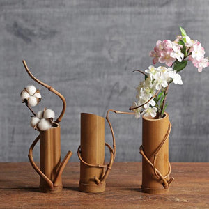 Spiral Twist Natural Bamboo Flower Vase