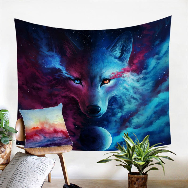 Where Light & Dark Meet Wolf Wall Tapestry