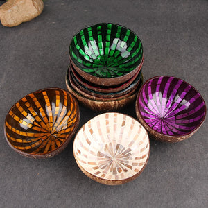 Striped Mosaic Pattern Coconut Shell Candy / Snack Bowl