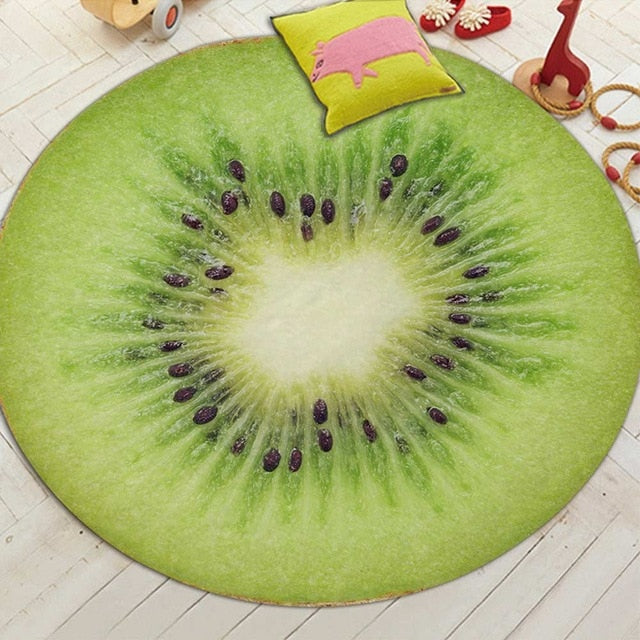 Round Printed Fruit Slice Floor Mat Rug