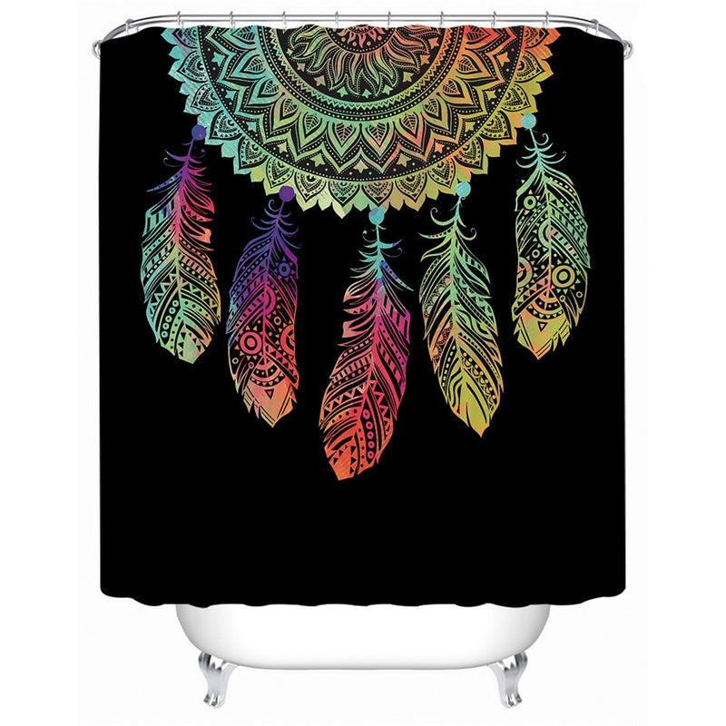 Black Rainbow Dreamcatcher Bathroom Shower Curtain