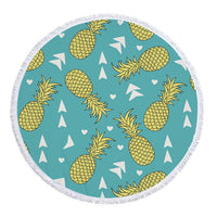Round Tropical Pineapple Pattern Beach Towel