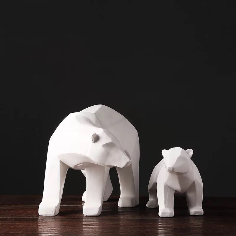 Modern Abstract White Geometric Polar Bear Sculpture