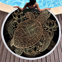 Round Gold Patterned Sea Turtle Beach Towel