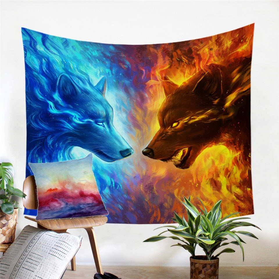 Fire & Ice Mystical Wolf Wall Tapestry