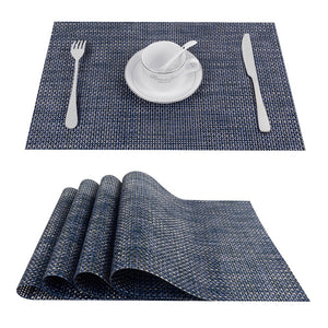 4-Piece Cross Weave PVC Vinyl Table Placemat Set