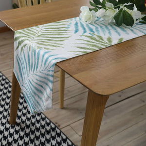 Blue / Green Palm Leaf Pattern Cotton Linen Table Runner