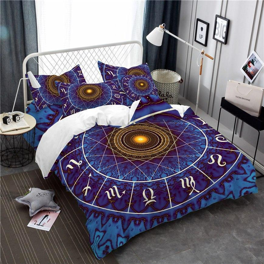 3-Piece Zodiac Constellation Chart Duvet Bedding Set