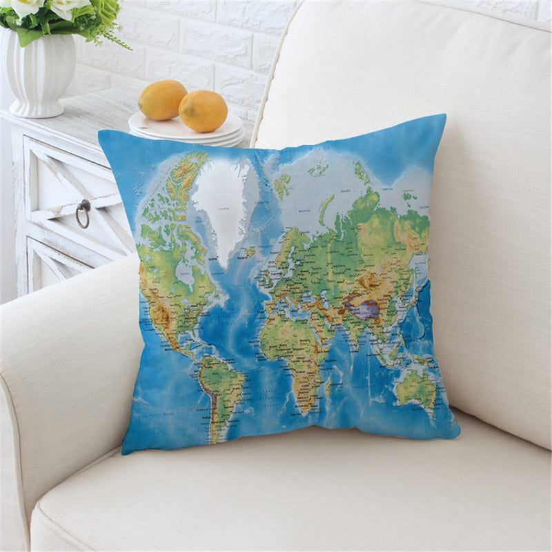 Blue Classic World Map Microfiber Throw Pillow Cover