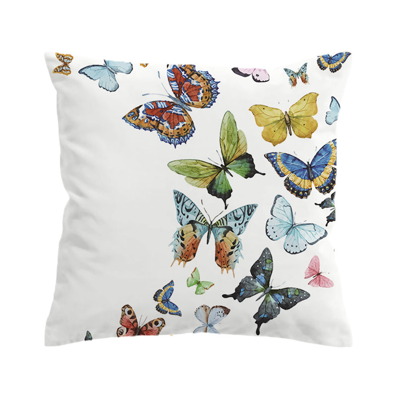 White Colorful Flying Butterflies Throw Pillow Cover