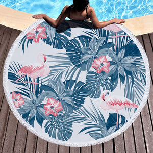 Round Tropical Floral Palm Leaf Print Beach Towel