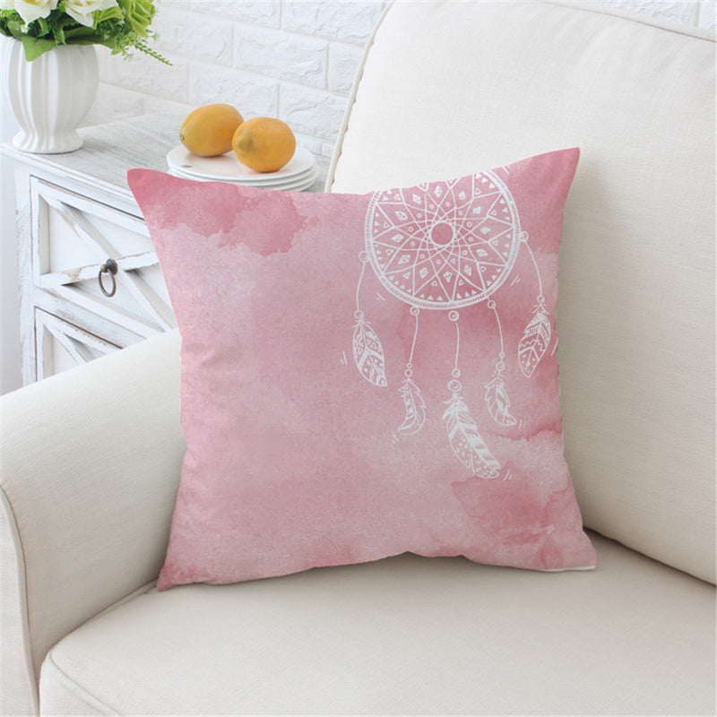 Watercolor Dreamcatcher Print Microfiber Pillow Cover