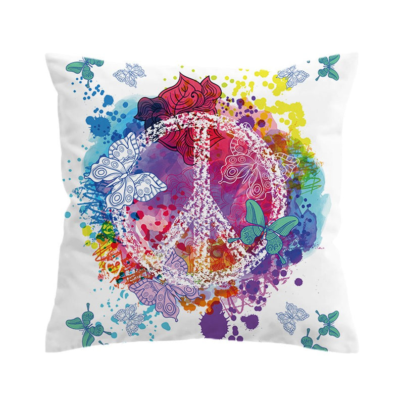 Rainbow Butterfly Peace Sign Microfiber Pillow Cover