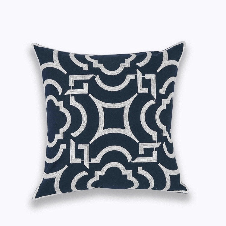 "18"" Navy Blue Embroidered Floral Pattern Pillow Cover"