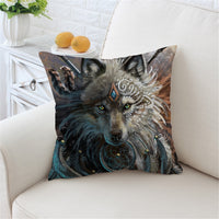 Wolf Warrior by SunimaArt Native American Pillow Cover