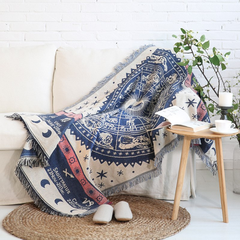 Blue Knitted Zodiac Chart Tapestry Sofa Throw Cover