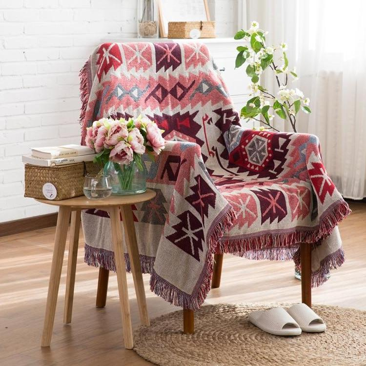 Red Knitted Native Ethnic Tapestry Sofa Throw Cover