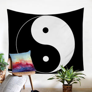 Black & White Chinese Ying-Yang Wall Tapestry
