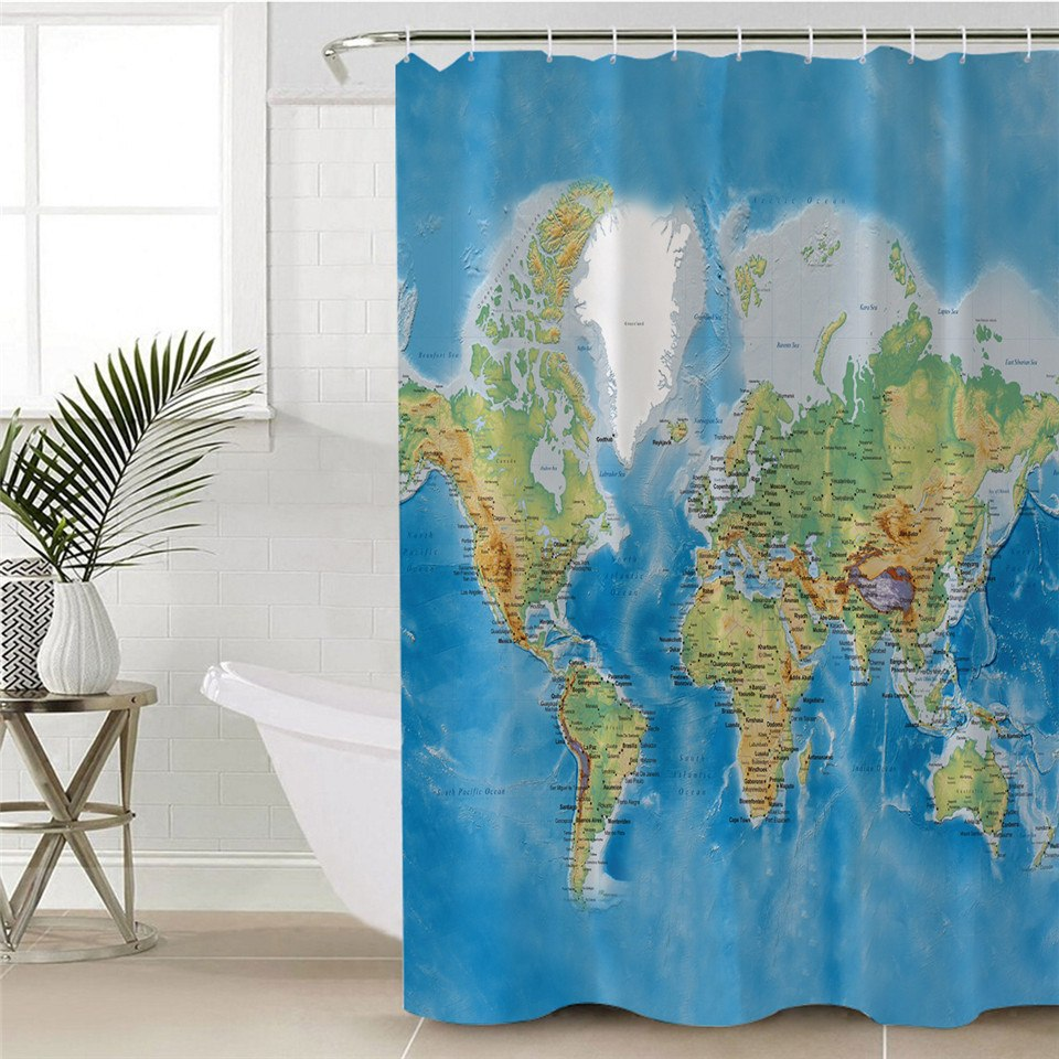Classic Blue World Map Bathroom Shower Curtain