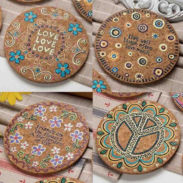 4-Piece Hippie Bohemian Pattern Cork Drink Coaster Set