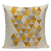 "18"" Yellow Nordic Geometric Elements Pillow Cover"