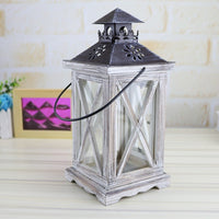 White Vintage Distressed Wood Lantern / Candle Holder