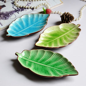 Ceramic Leaf-Shaped Jewelry / Snack Dish Tray