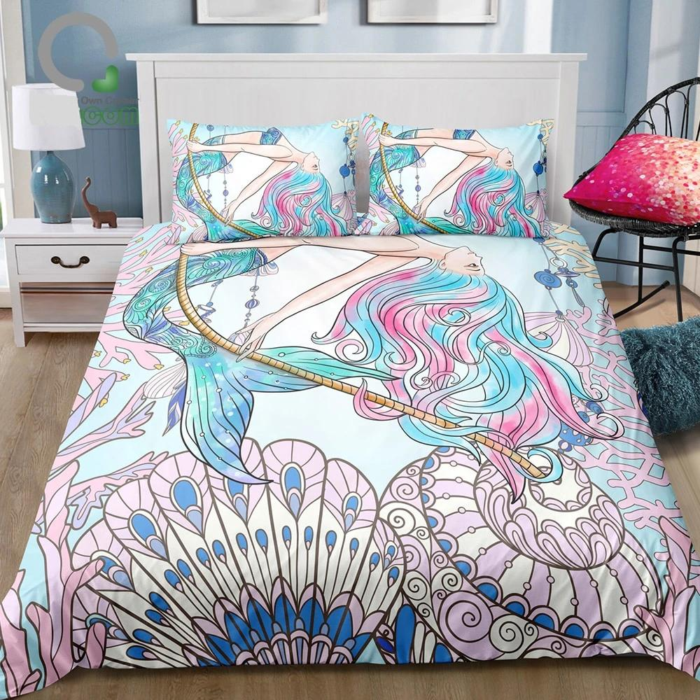 2/3-Piece Boho Swinging Mermaid Duvet Cover Set