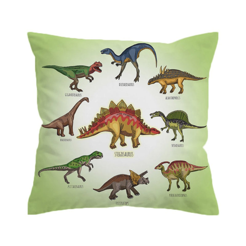 Green Dinosaur Print Microfiber Throw Pillow Cover