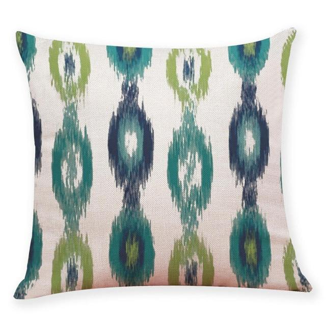 "18"" Blue / Green Geometric Pattern Throw Pillow Cover"
