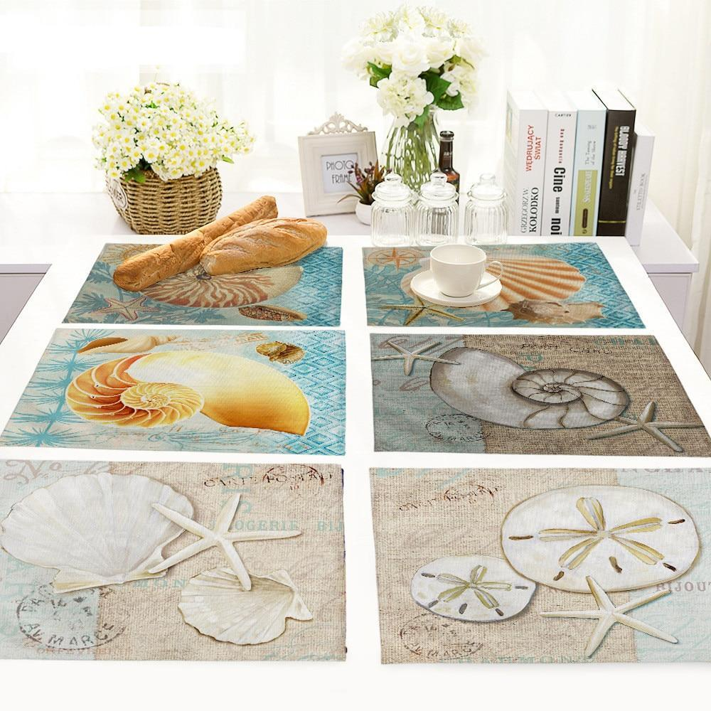 Coastal Beach Sea Shell Print Table Placemat