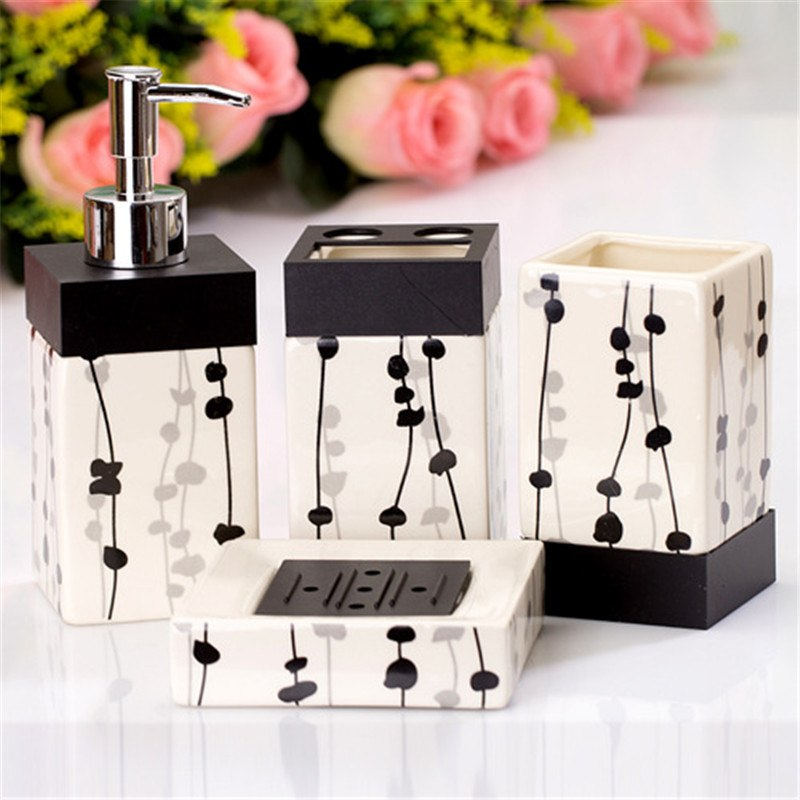 4-Piece Black & White Striped Ceramic Bathroom Accessory Set