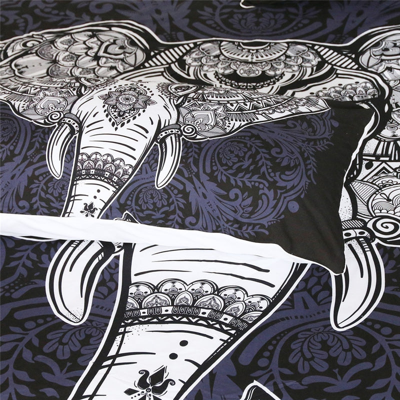 Black & White 3-Piece Bohemian Elephant Duvet Cover Set