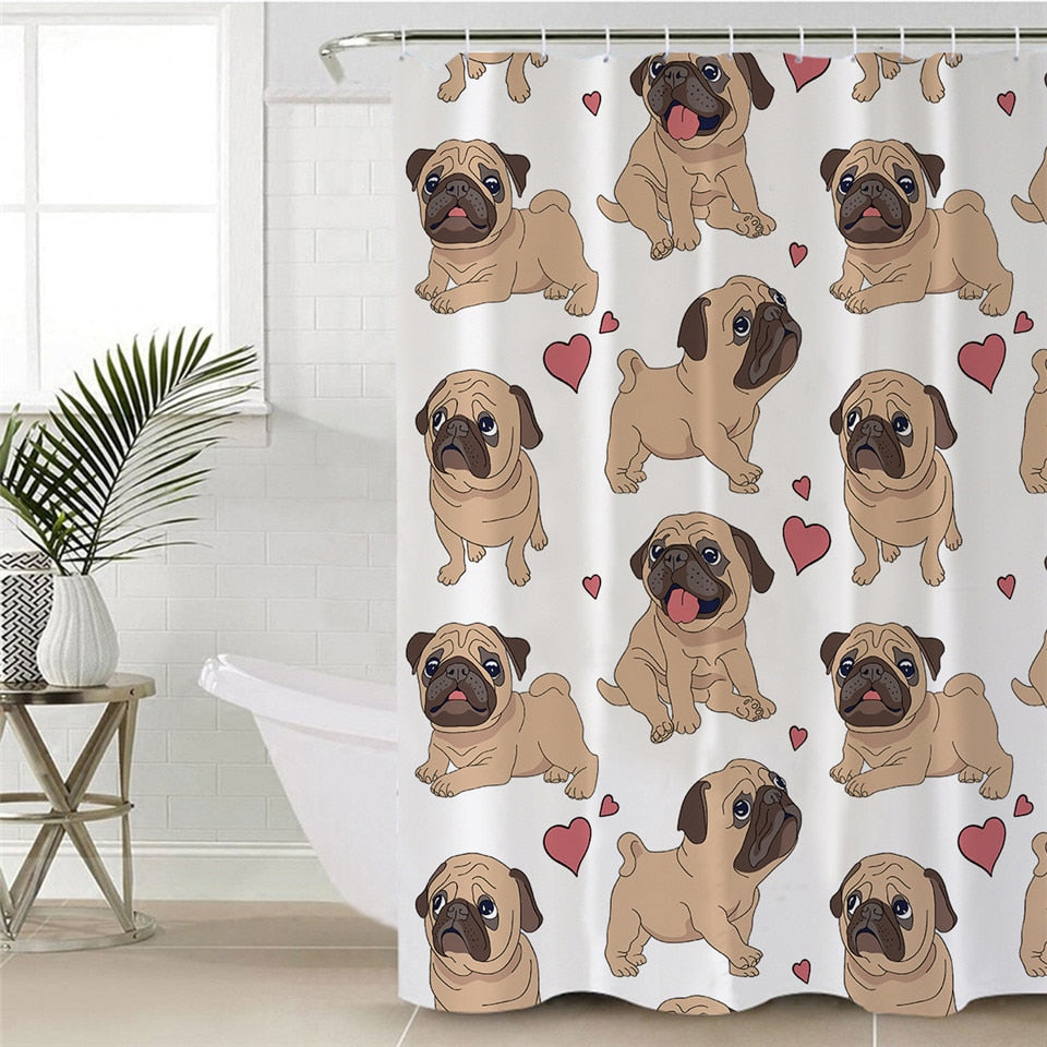 White Pug Puppy Love Bathroom Shower Curtain