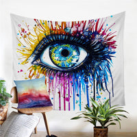 Rainbow Fire Watercolor Eye Wall Tapestry