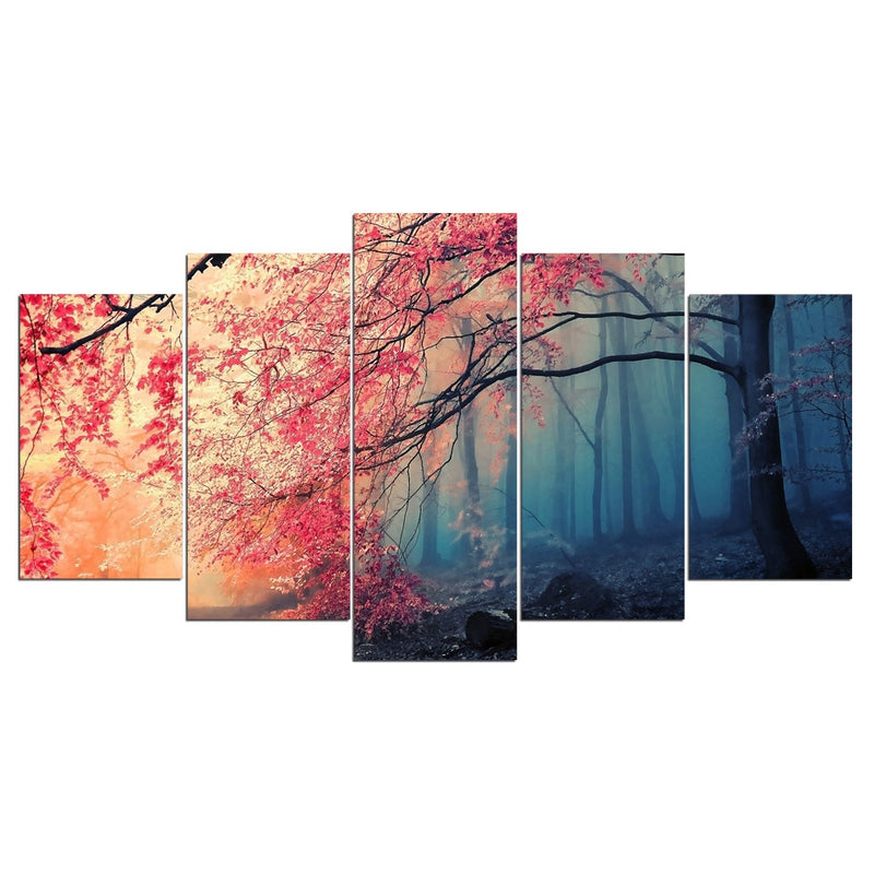5-Piece Weeping Cherry Blossom Tree Canvas Wall Art