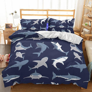 Navy 2/3-Piece Kids Shark Print Duvet Cover Bedding Set