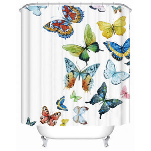 White Colorful Flying Butterflies Bathroom Shower Curtain
