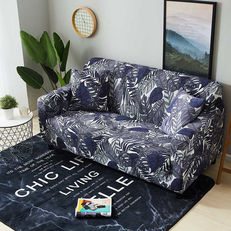 Amazing Blue Tropical Palm Leaf Pattern Sofa Couch Cover Bralicious Painted Fabric Chair Ideas Braliciousco