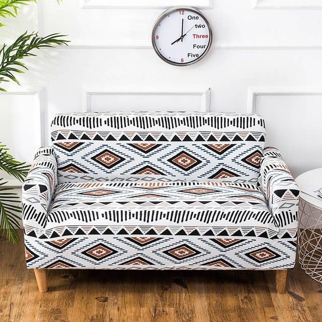 White Geometric Aztec Pattern Sofa Couch Cover