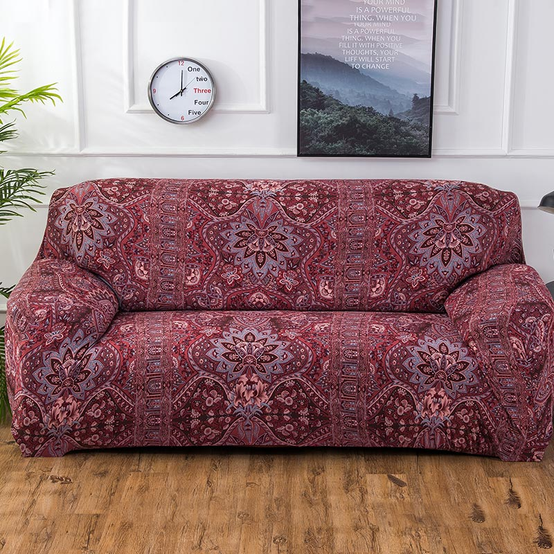 Red Bohemian Floral Pattern Sofa Couch Cover