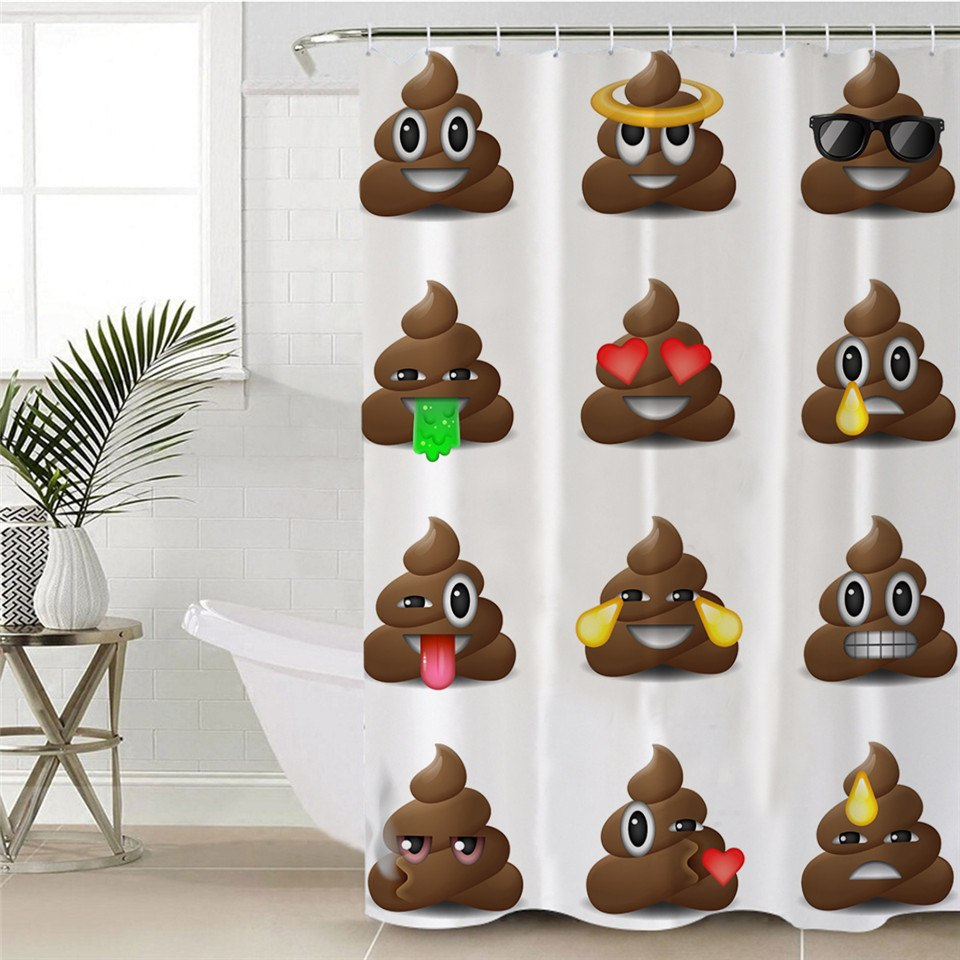 White Poop Emoji Bathroom Shower Curtain