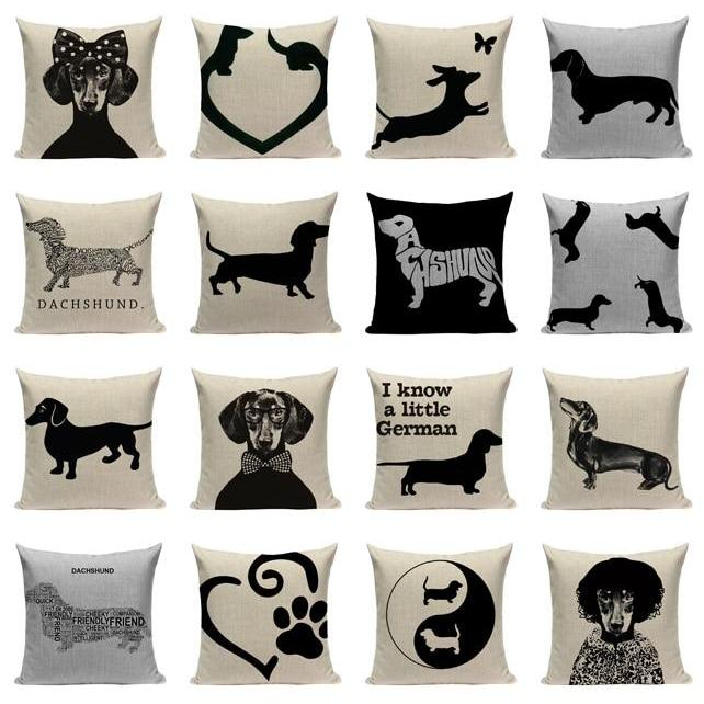 "18"" Black Dachshund Dog Print Throw Pillow Cover"
