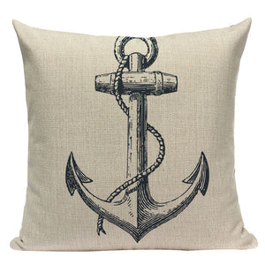 "18"" Vintage Nautical Sail Inspiration Throw Pillow Cover"