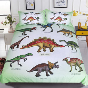 3-Piece Kids Dinosaur Print Duvet Cover Bedding Set