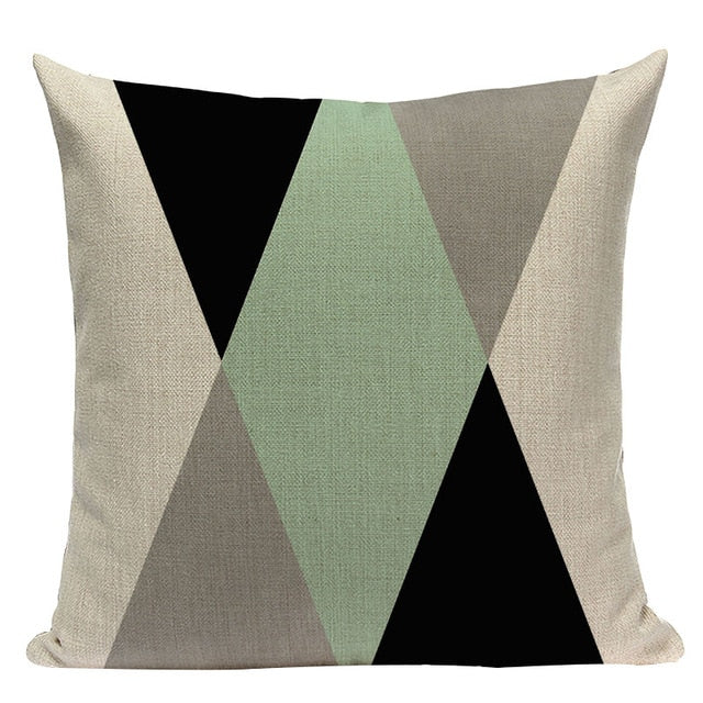 "18"" Mint Green Nordic Geometric Elements Pillow Cover"