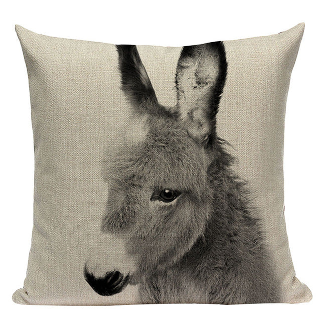 "18"" Black & White Baby Animal Portrait Throw Pillow Cover"