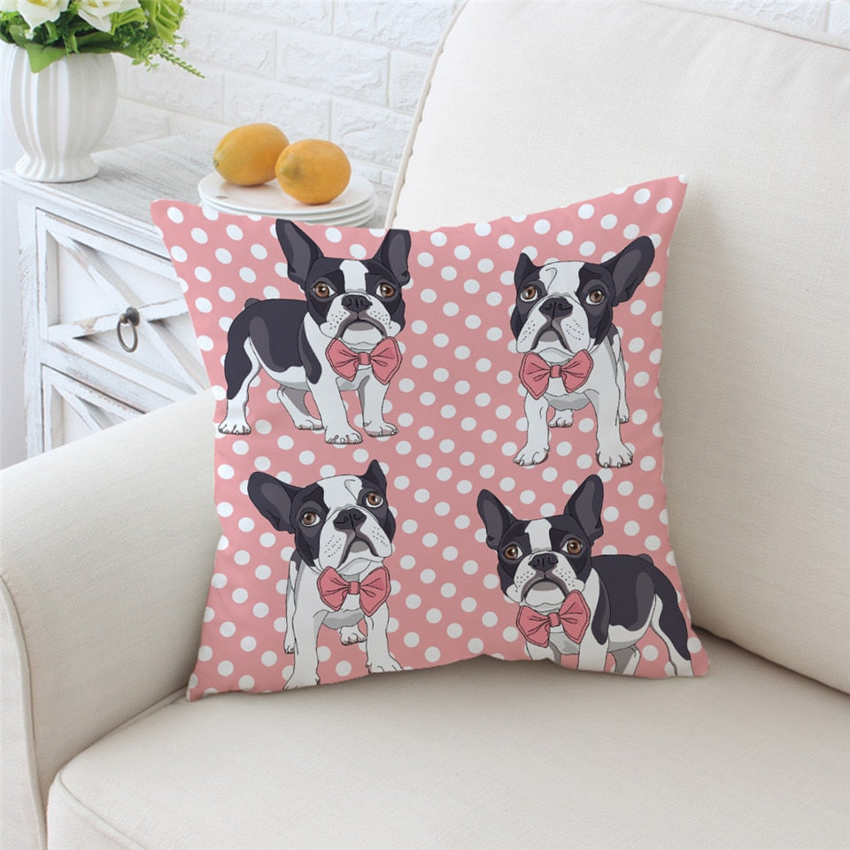 Pink Polka Dot Puppy Microfiber Throw Pillow Cover